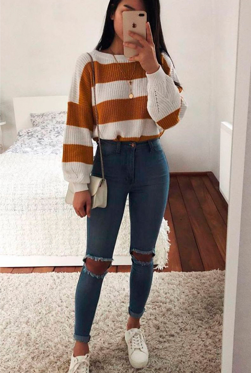 outfit jeans fisico a clessidra